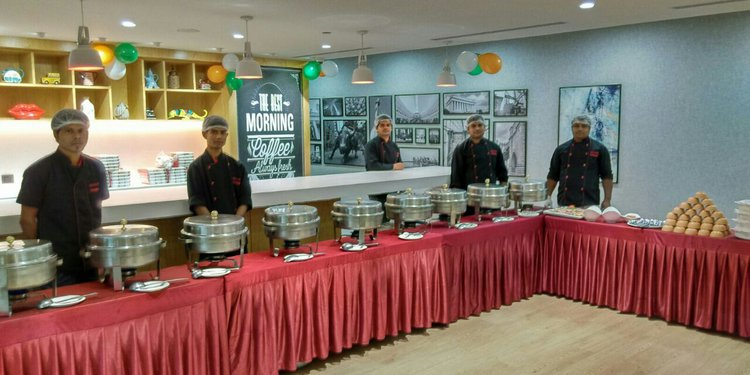 A grand Indian Buffet setup at Spaces