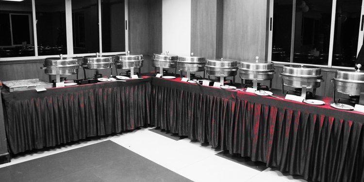 Buffet Setup with Dish Warmer